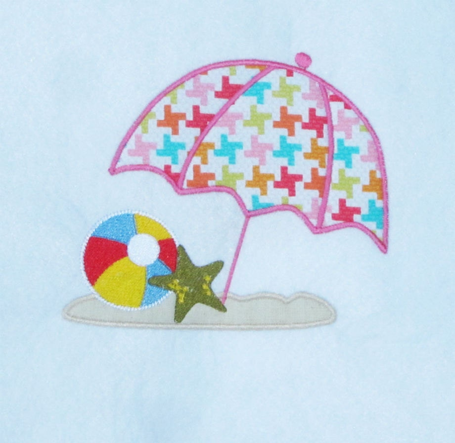 Beach umbrella applique embroidery design