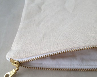 Canvas Zipper Pouch. Choose between 4 sizes. Natural Cotton Canvas with Gold Zipper.
