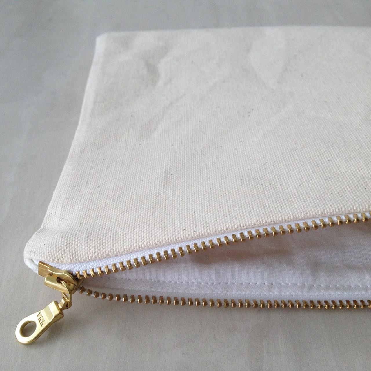 Canvas Zipper Pouch. Choose between 5 sizes. Natural Cotton