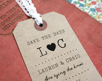 Vintage Luggage Tag Save The Date with Lace and Pearl Detailing