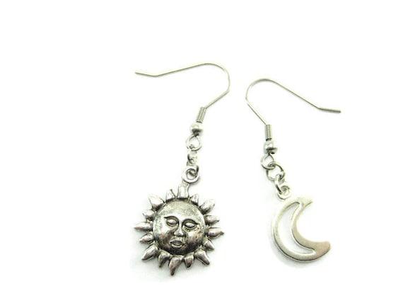 sun and moon earrings sun jewelry moon jewelry sun and moon