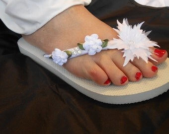 Havaianas Flip Flops Bridal Flip Flops,Wedding,White Vintage,Wedges,Romantic style,Ivory. Wedding Accessories,Swarovski crystals,gift bride