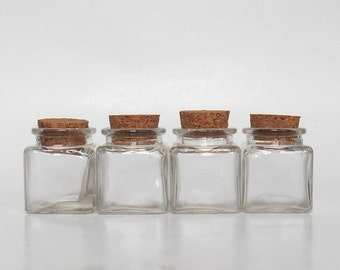 Mini small clear glass square Jars set (4), 1.4 oz, 40 ml, with cork, 4 empty jars, DIY jars gift, wedding favor supply, party favor supply