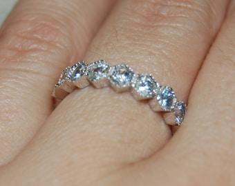 Classic Bezel Set Round Milgrain Edged Eternity Ring 925 Sterling Clear White CZ Engagement Anniversary Wedding Band