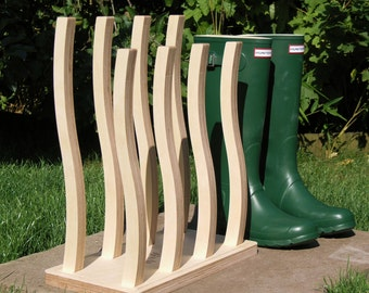 Luxury Wooden Wellie Boot Rack - 2, 3, 4, 5, 6 or 8 pairs. Wellington stand