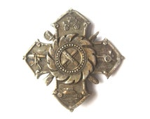 Antique Catholic Military Badge | Maltese Cross | Horseless Carriage Sword | Rifle Bayonet Gattling Gun Tank | Weaponry Ordnance Cannon