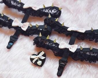 Black Spiked Lolita Garters (Customizable)
