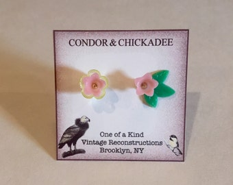 One Of A Kind Twin Pink Lucite Flower Earrings Made With Vintage Stock From The 60's