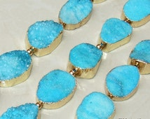Turquoise Blue - Druzy Connector, Druzy Agate Quartz.  Gold Plated Edge - Center Drilled - Full Strand - 30mm x 35mm