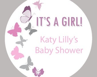 """Personalized Baby Shower Labels -  Butterfly Labels - Custom Stickers - Mason Jar - Choose your colors- 1.5"""", 2"""" or  2.5"""" round"""