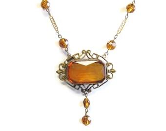 Czechoslovakian Necklace Antique Amber Art Glass Czech Jewelry Art Deco Vintage