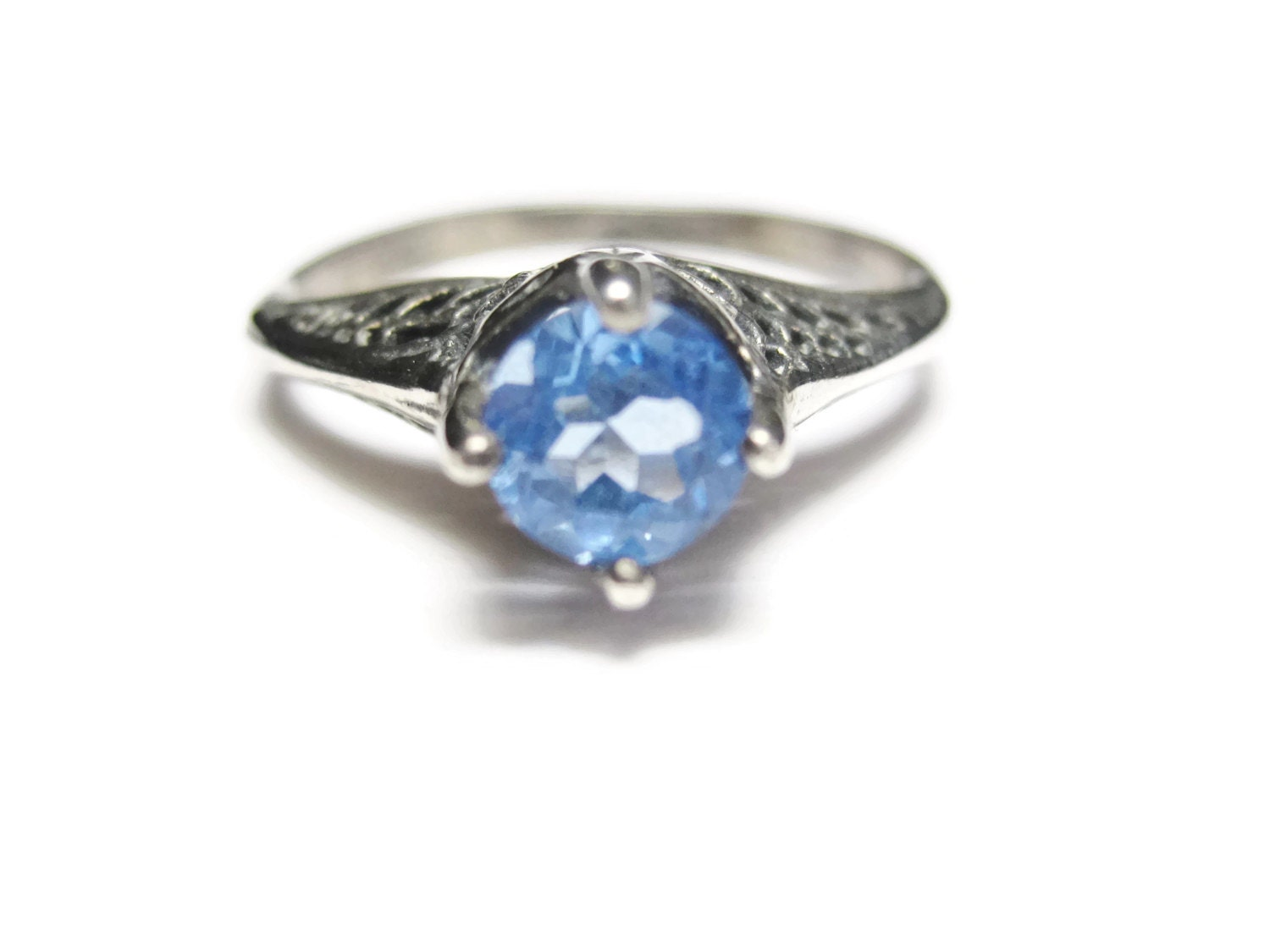 Blue quartz filigree engagement ring by bejeweledemporium for Quartz wedding rings