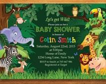 Jungle Animal Safari Baby Shower. Wild Animals Baby Boy Shower Invites. Elephant, Lion, Deer, Giraffe. New Baby. Printable Digial.