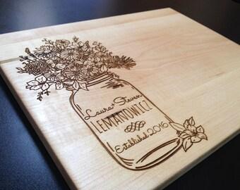 Personalized Cutting Board, Rustic Mason Jar Wedding Present Bridal Shower Gift Anniversary/ Kitchen Decor Chopping Board Custom Board