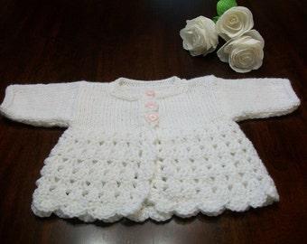 Newborn Cardigan, 0 to 3 Months White Baby Sweater, White Crochet Baby Cardigan,  Newborn White Sweater