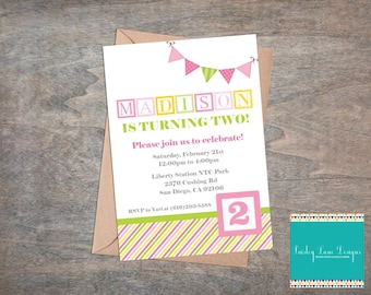 Pink and Green Alphabet Blocks Printable Invitation 5x7, Alphabet Birthday Party, Girl Alphabet Birthday, Pink and Green