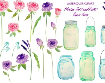 Wedding Clipart - hand painted watercolor mason jars and roses printable instant download scrapbook wedding invitations greeting cards