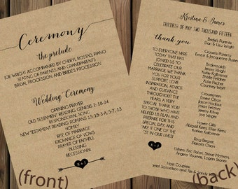 Kraft Paper Wedding Programs Double-Sided _27