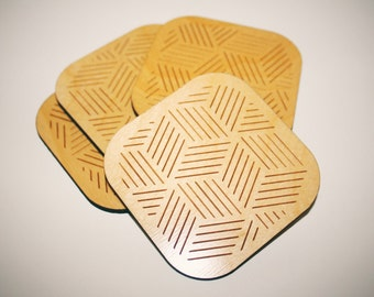Geometric Coasters Set - Set of 4 - Laser Cut Maple Wood - Geometric Stripe