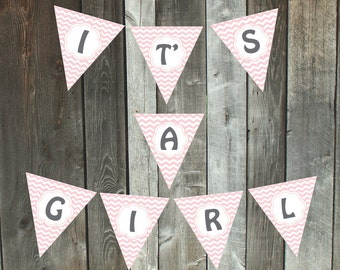 Printable It's a Girl pennant banner | pink chevron baby shower flag bunting | instant download