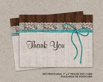 Rustic wedding thank you cards | Etsy