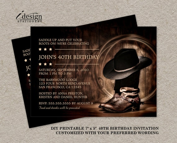 Country Western 40th Birthday Party Invitation With Cowboy – Country Party Invitations