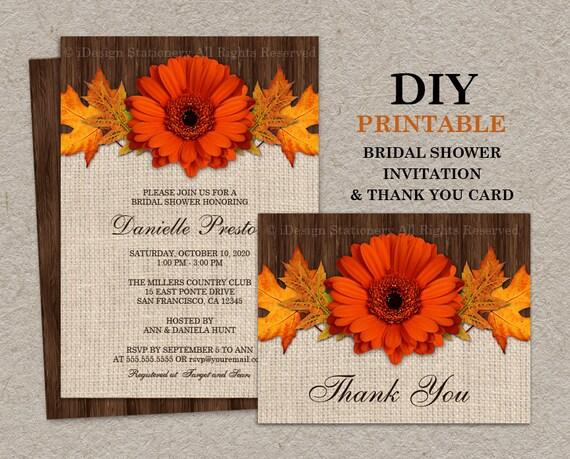 Fall Wedding Shower Invitations: Items Similar To DIY Fall Bridal Shower Invitations With
