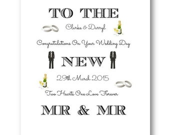 Personalised Gay Wedding Card - Husband, Special Couple, Personalized Mr and Mr Wedding Day Card, Mrs and Mrs Wedding Cards