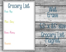 "Grocery List Dry Erase Magnet - 5.5"" x 8.5"" - Organizer Meal Planning"