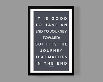 Ernest Hemingway Poster Print - It is the journey that matters in the end - Quote Travel Faith Poetry