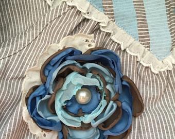 m2m Blue Rosie: Handmade Flower Hair Clip (or headband) with vintage pearl bead, m2m Well Dressed Wolf's Blue Rosie dress