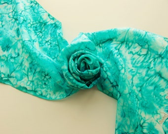 """Hand painted silk scarf. Handpainted silk scarf. Bright teal silk scarf with small silver circles. 10 x 60"""", 25 x 150cm."""