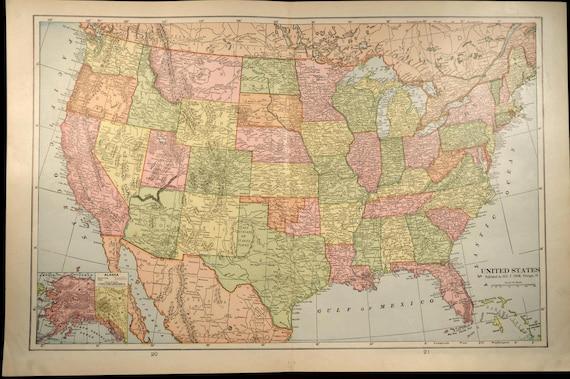 Antique United States Map 1901 LARGE Original Wall Decor