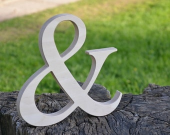 10'' Wooden Ampersand for Rustic Wedding Decor, Wooden Photo Prop, Free Standing or Wall Hanging Ampersand, Wood Home Decor