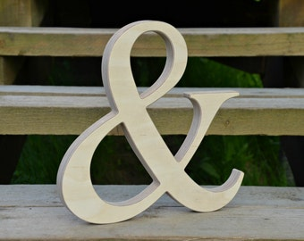 8'' Wood Ampersand for Rustic Wedding Decor, Wooden Photo Prop, Free Standing or Wall Hanging Ampersand, Wood Home Decor