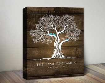 Family Tree Canvas Print Art, Birds on Tree Personalized Anniversary Gift Ideas, Wood Color Family Tree Wall Art Birds on Tree Canvas Print