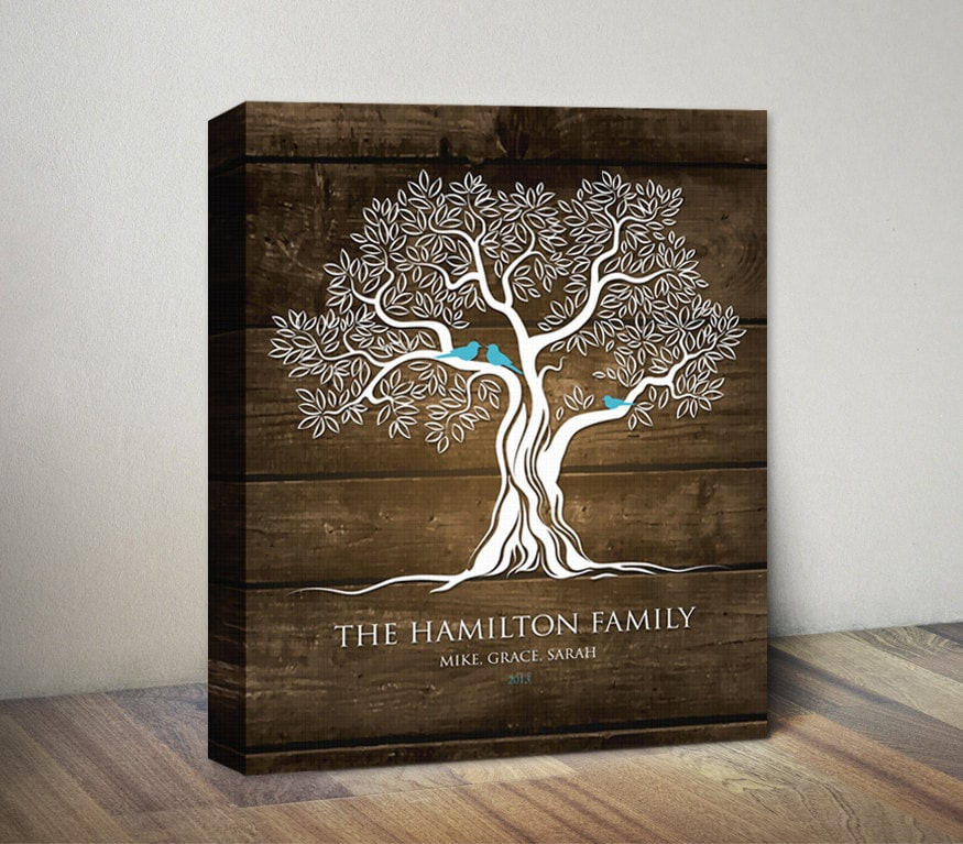 Family Photo Book Cover Ideas : Family tree canvas print art birds on personalized