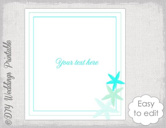Beach Wedding Template Starfish Printable Table