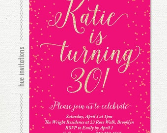 hot pink 30th birthday party invitation, pink glitter womens birthday invitation, printable invite any age 287