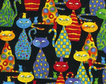 Packed Cats Fabric Fat Quarter, Half Yard, or By-The-Yard; Novelty Cotton Fabric; Timeless Treasures; C4217; Quilt, Craft, Apparel, Decor