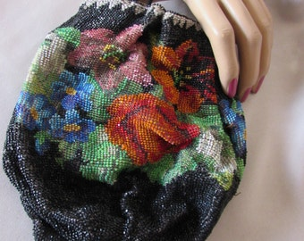 LAST CALL! Antique Beaded Pouch Purse in Astonishing Colors Floral Design