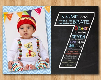 Second Birthday Invitation Chalkboard Nd Birthday Invite - Birthday invitation card for 7 years old boy
