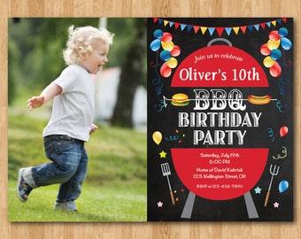 BBQ Birthday Invitation. Kids Chalkboard BBQ Barbecue Birthday Invite. Custom Photo. Boy or Girl Bday. Printable Digital.
