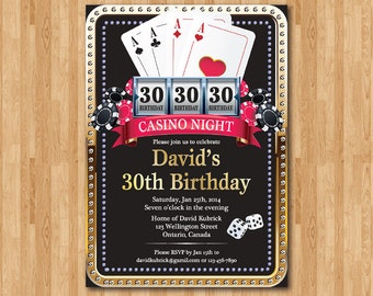 Poker Playing Card Gold birthday invitation. Casino theme gold glitter invite, 30th 40th 50th 60th 70th 80th 90th any age. Printable Digital