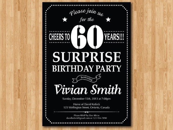 surprise 40th birthday invitation. chalkboard. birthday party,