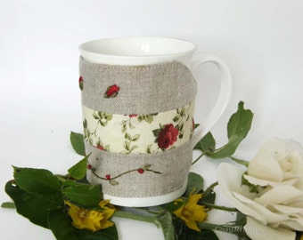 Fabric Tea Mug Cozy Cup in Beige and Red