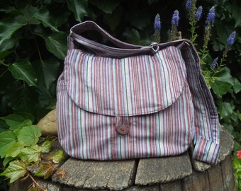 Striped corduroy shoulder bag,buttoned bag