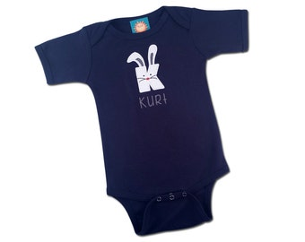 Baby Boy Easter Bunny Initial Bodysuit with Embroidered Name
