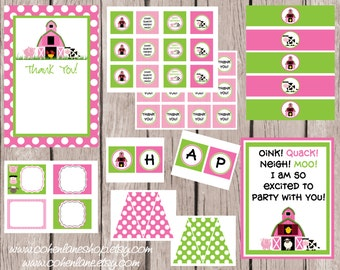 INSTANT DOWNLOAD Pink Barnyard Birthday Bash Printable Party Package. DIY Farm Themed Party Package. Pink Farm Birthday Party.  Invitation.