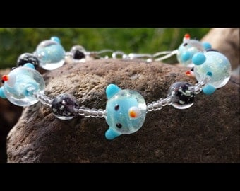 Glow in The Dark Bracelet - Glowing Jewelry - Teddy Bear Jewelry - Glow in the Dark Bracelet - Glowing Bracelet - Lampwork Glass Jewelry